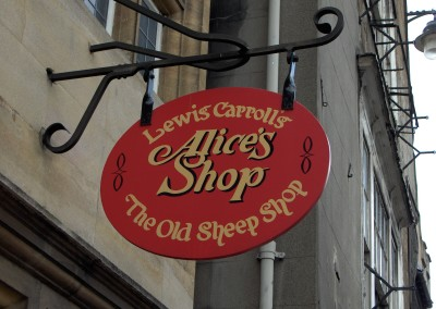 Alice's Shop door sign